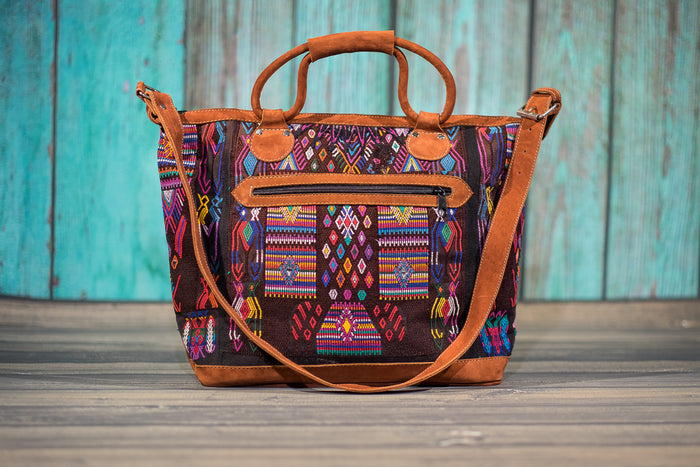 Huipil Overnighter Tote Bag Cross Body Purse Diaper Bag Mayan Magic