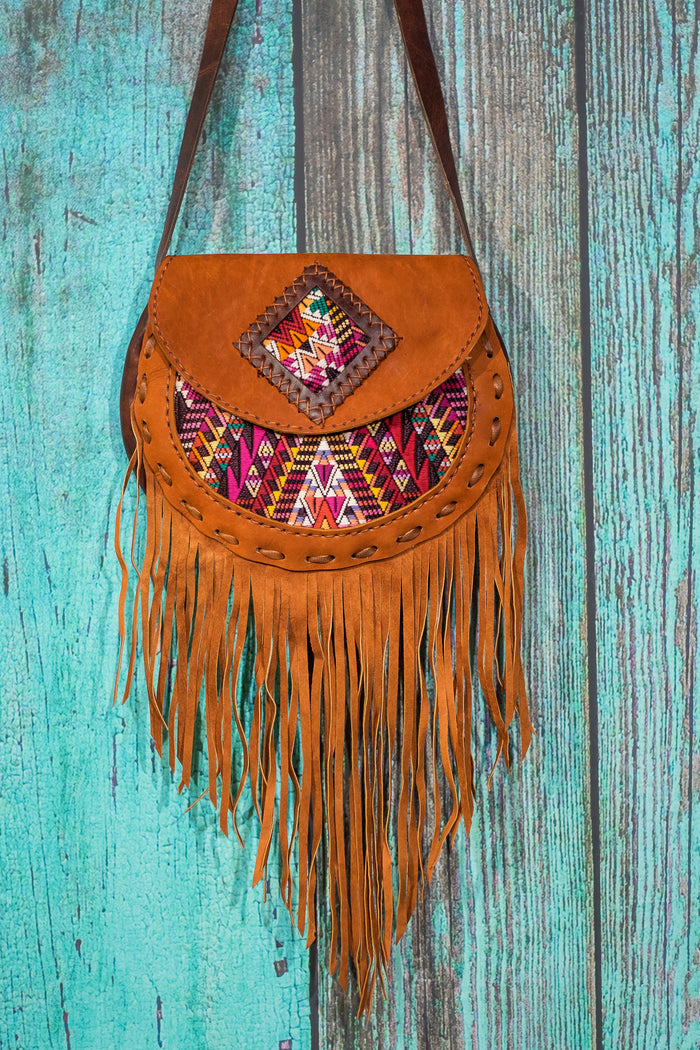 Huipil Luna Fringe Bag purse cross body suede tan