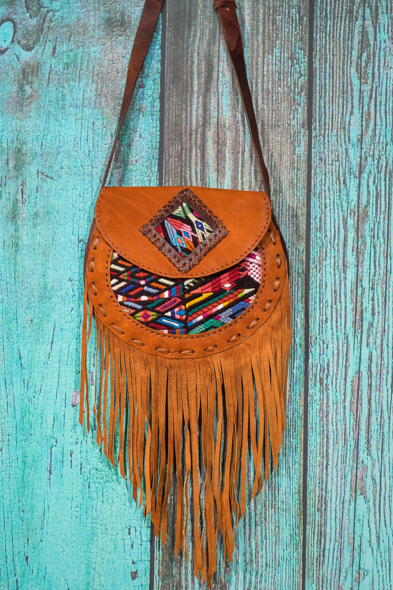 Huipil Luna Fringe Bag purse cross body suede tan Jessa
