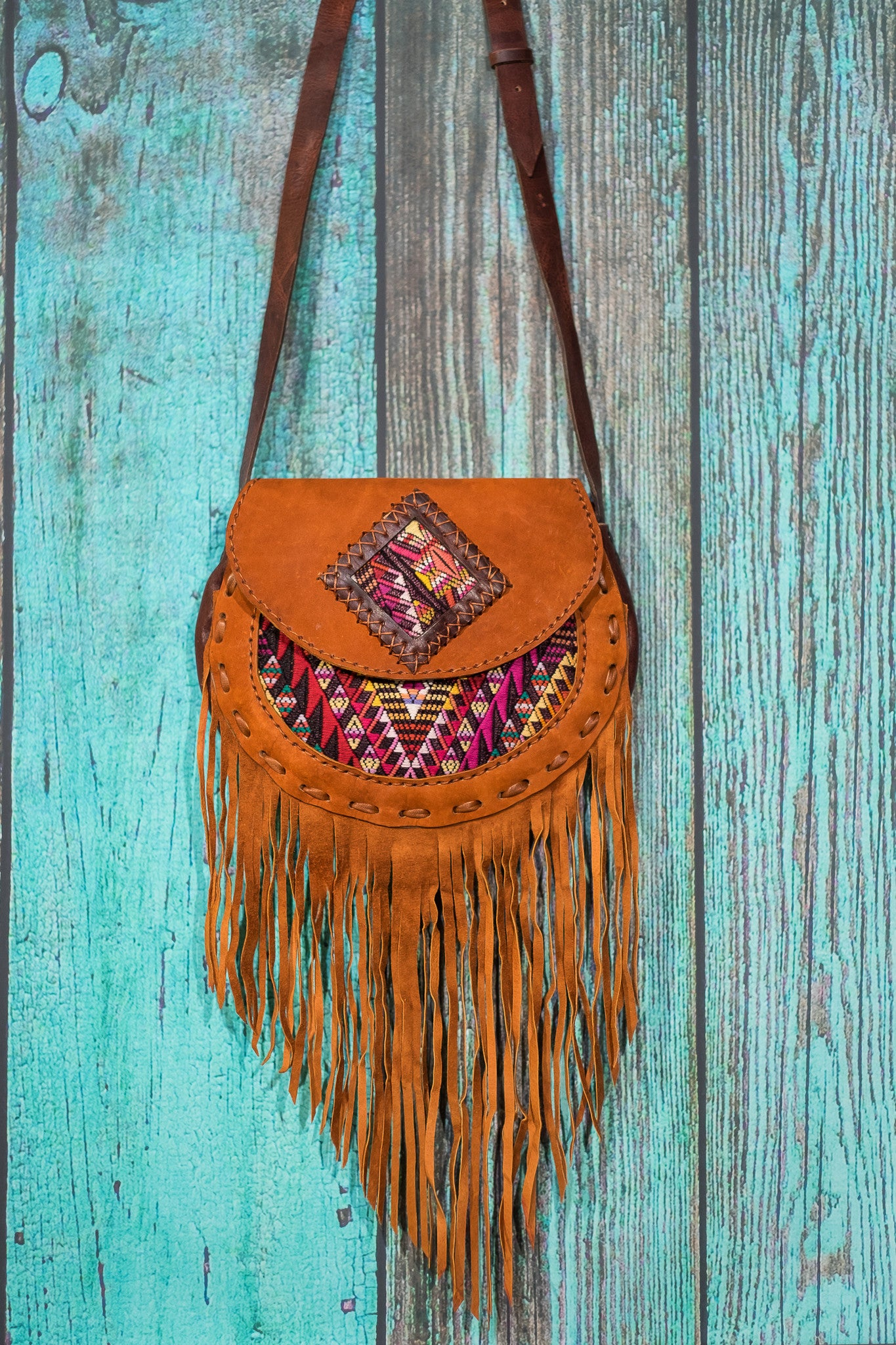 Huipil Luna Fringe Bag purse cross body suede tan Jasmine