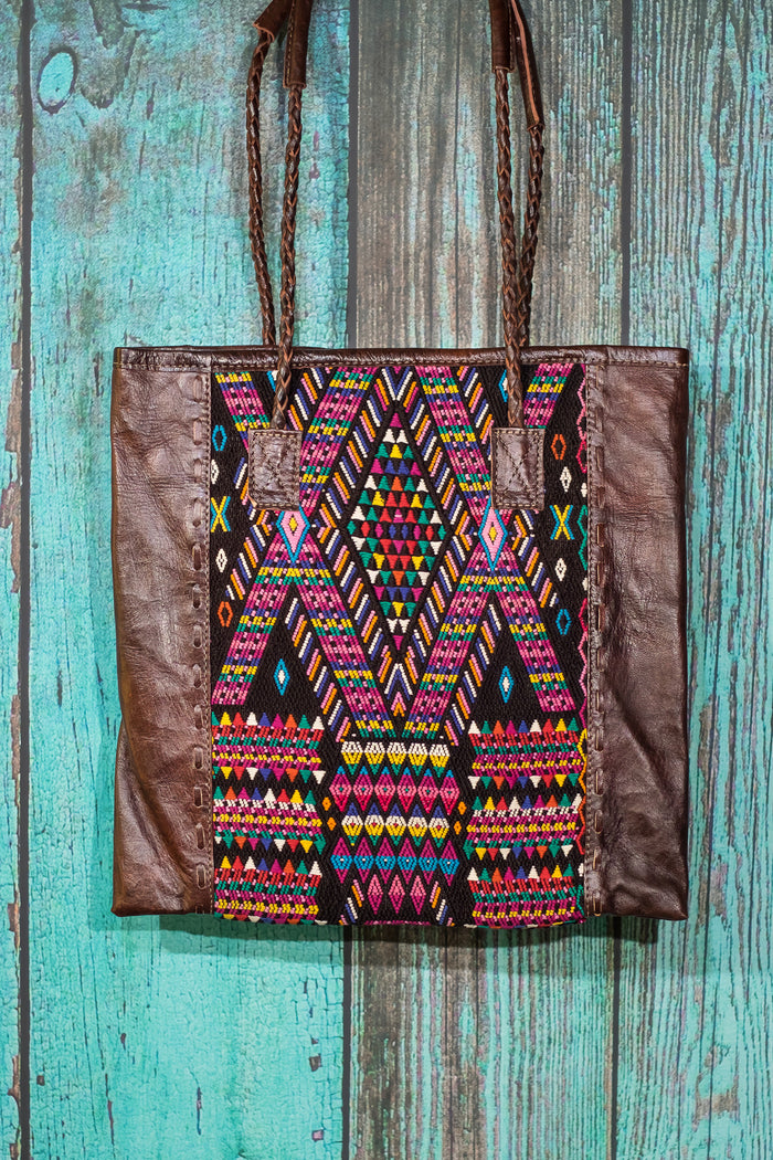 Braided Huipil Leather Tote Bag Purse XX