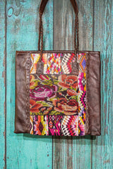 Braided Huipil Leather Tote Bag Purse Her Garden