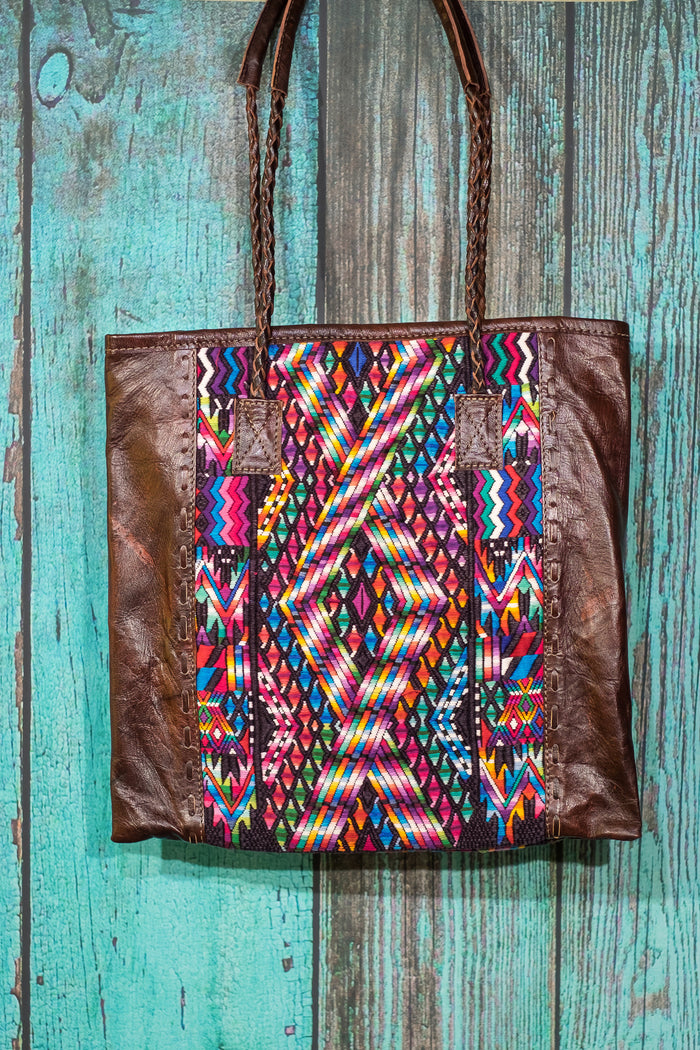 Braided Huipil Leather Tote Bag Purse Futura