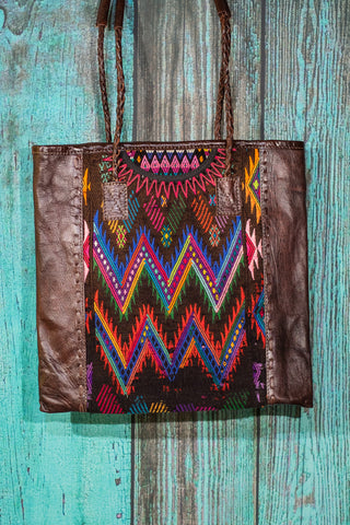Braided Huipil Leather Tote Bag Purse Bayou