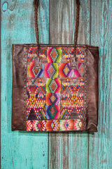 Braided Huipil Leather Tote Bag Purse ChaCha