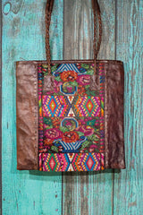 Braided Huipil Leather Tote Bag Purse Vera