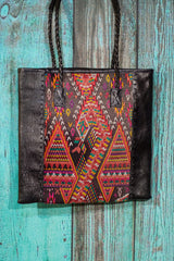 Braided Huipil Leather Tote Bag Purse Roam