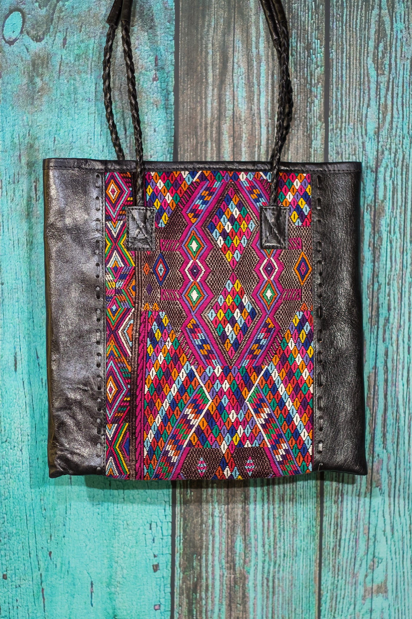 Braided Huipil Leather Tote Bag Purse Dalora