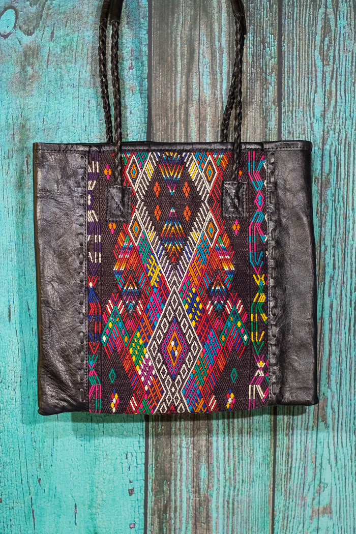 Braided Huipil Leather Tote Bag Purse Veda