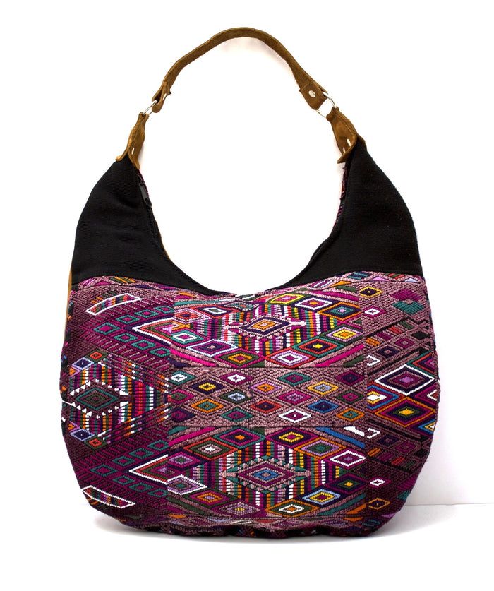 Curved Huipil Hobo Bag Kaleidoscope