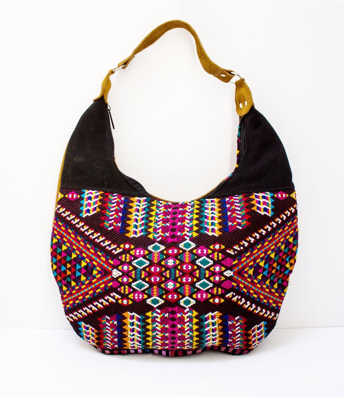 Curved Huipil Hobo Bag Maya
