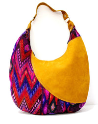 Curved Huipil Hobo Bag Purple Craze