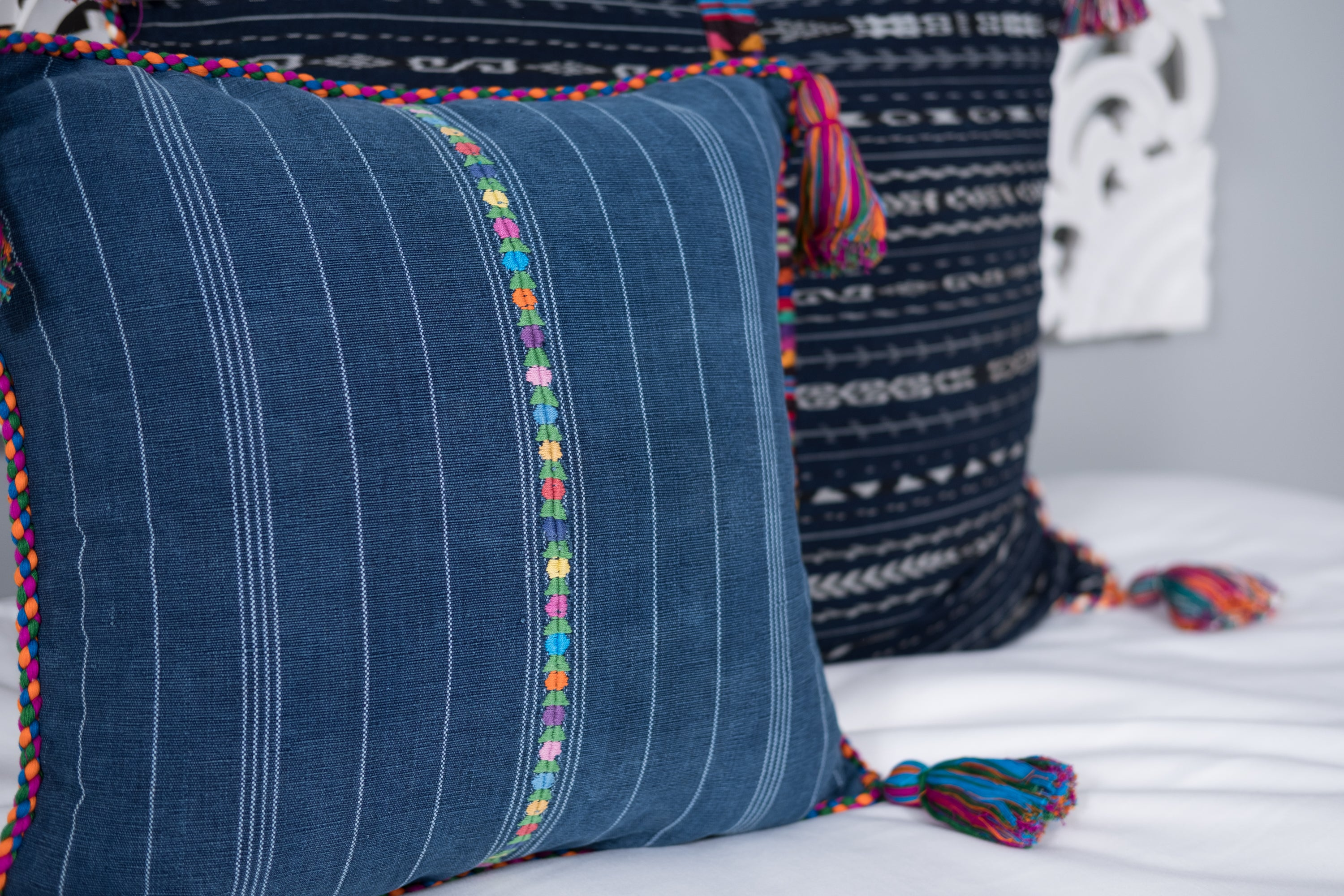 Cortes Huipil Pillow Cover Denim Lover