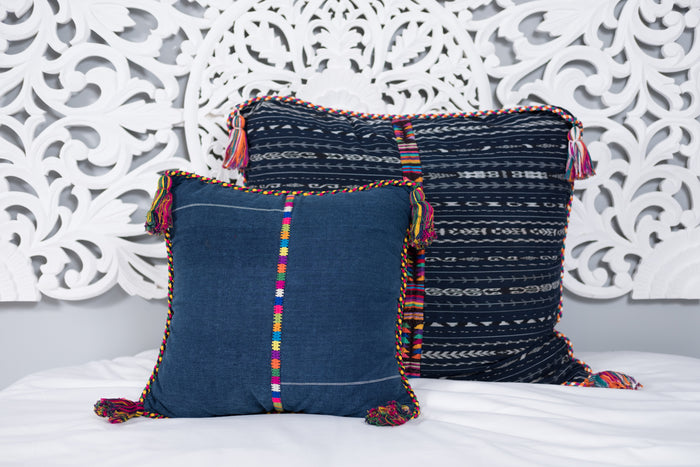 Cortes Huipil Pillow Cover Indigo Denim Fiesta Two