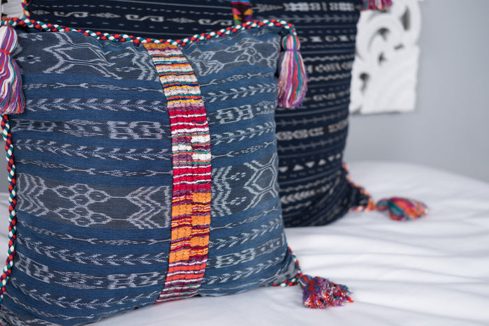 Ikat Cortes Huipil Pillow Cover Indigo Denim #3