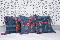 Ikat Cortes Huipil Pillow Cover Indigo Denim #2