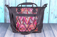 Overnighter Tote Bag Cross Body Purse Diaper Bag black leather