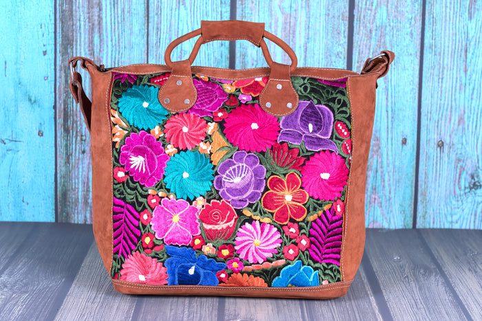 Huipil Overnighter Tote Bag Cross Body Embroidered Flowers