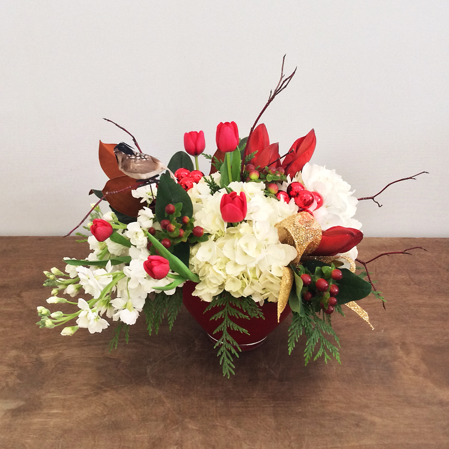 Holiday Hydrangea Arrangement