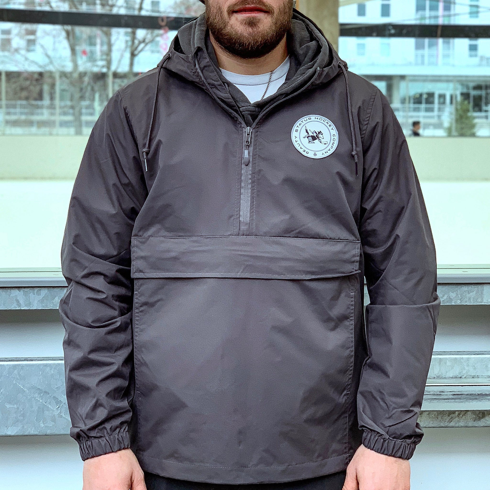 Wolves of Winter *1/2 Zip Anorak Shell (Cinder Grey) - Beauty Status Hockey Co.