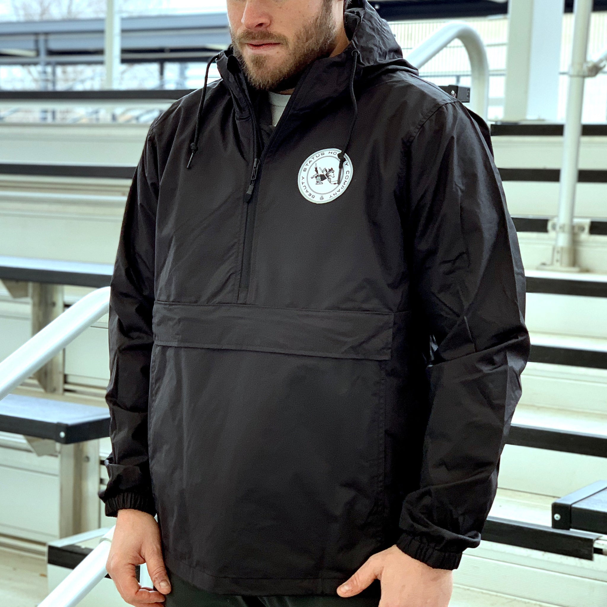 Wolves of Winter *1/2 Zip Anorak Shell (Black) - Beauty Status Hockey Co.