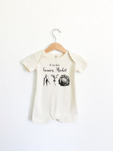 F is for Farmers Market Short Sleeve Romper