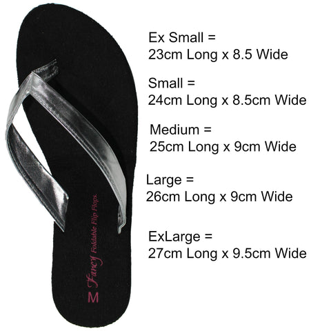 Fancy Foldable Flip Flops chart size