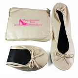 foldable flats fancy cream fold up shoes