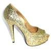 fancy gold high heels
