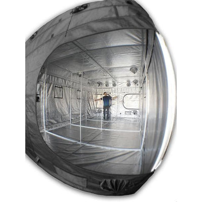 "fish eye view interior The Original Gorilla Grow Tent® 10' x 20' x 6'11"" with man inside"