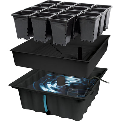 MegaGarden System with rectangular pot holder with water reservoir