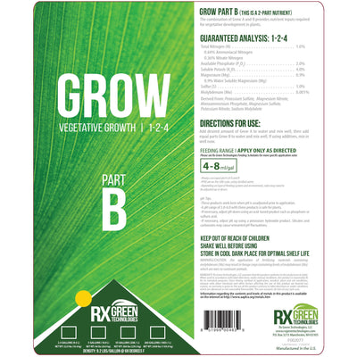Grow Part b warning label, analysis, directions for use, and feeding range