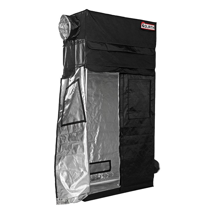 "half open The Goliath Grow Tent 2' x 4' x 6'11""/7'11"""