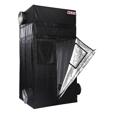 "front half open The Goliath Grow Tent 4'x4'x6'11"" (1 Ft. Extension Kit Included)"
