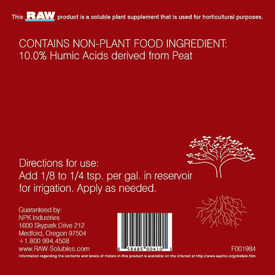 Raw Full Uptake Feeding Program Back Label with Directions for use