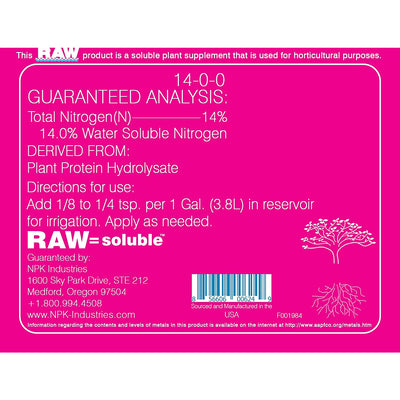 NPK RAW omina back label with directions for use