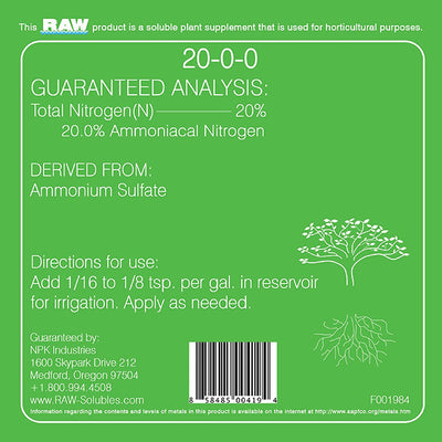 NPK RAW soluble back label with directions for us