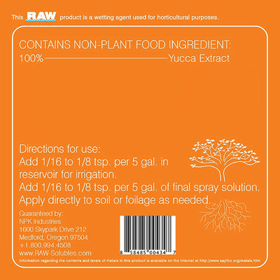 raw soluble oragne back label with directions for use
