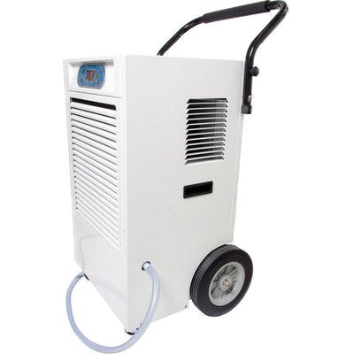 Active Air Dehumidifier showing wheels and handles and tubing