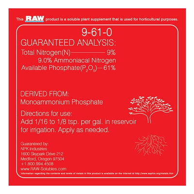 npk raw phosphorus back label with directions for use