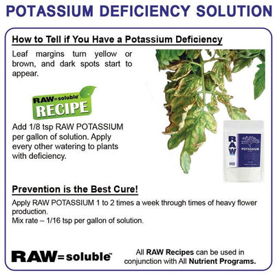 Raw Soluble Potassium Deficiency Directions to remove yellow or brown dark spots from leaves