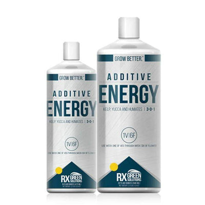 RX Green Solutions Energy bottles, a product derived from traditional and organic ingredients, including plant extracts (kelp and yucca) and humic acid