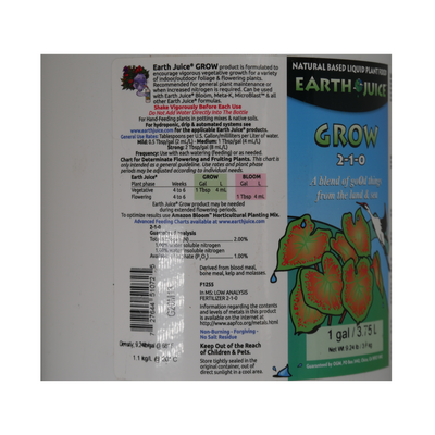 Earth Juice Grow (1 Gallon): Vegetative Growth Booster