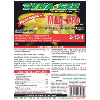 Mag pro plant food back label for directions for use and warning label