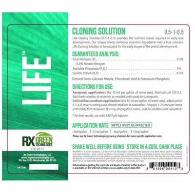 LIFE Cloning Mist back label with directions for use and warning caution