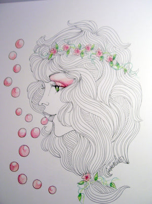 Flower Child Face Art Print