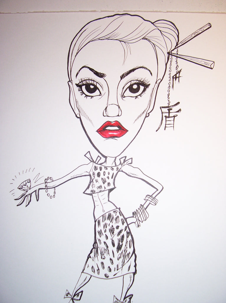 Gwen Stefani Rock & Roll Caricature