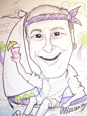 Caricature of One Person in Black and White with a Touch of Color