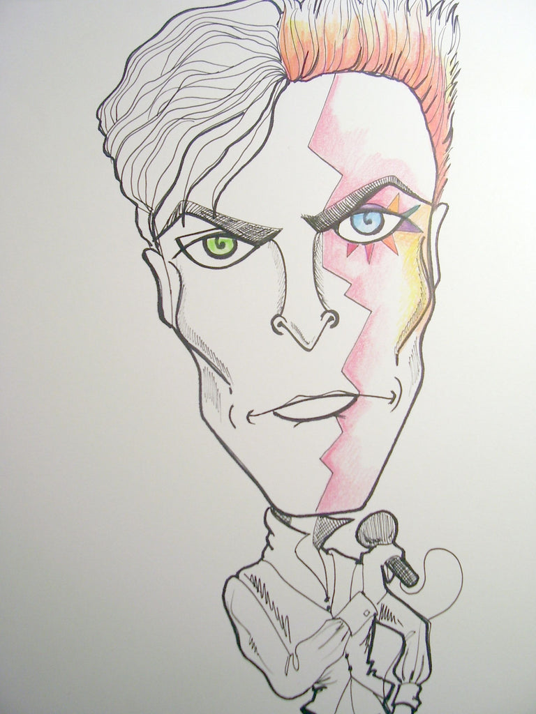 David Bowie Rock and Roll Caricature