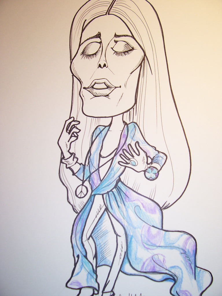 Joni Mitchell Rock & Roll Caricature